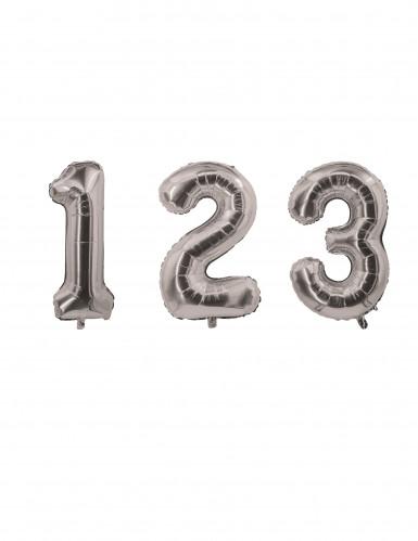 Palloncino in alluminio colore argento numero 0