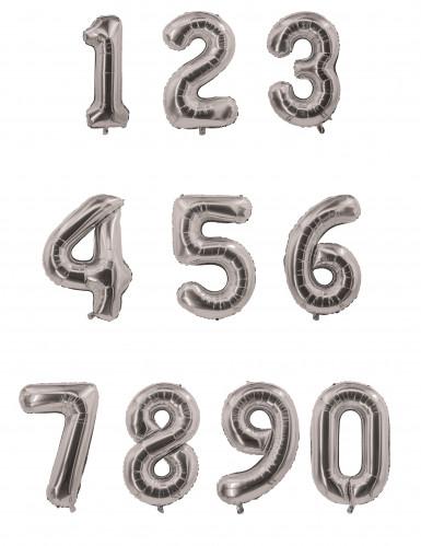 Palloncino in alluminio colore argento numero 0-1