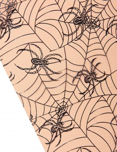 Tovaglia arancio in organza con stampa ragni Halloween-1