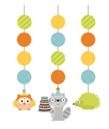 3 decorazioni a sospensione a tema gli animali del bosco in legno per ragazzi
