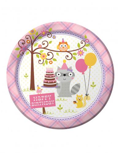 8 piatti di carta Animali del bosco Bambina 23 cm