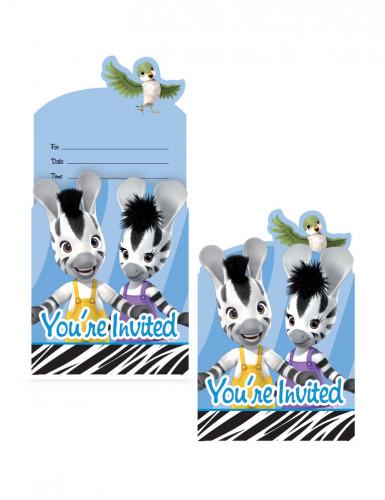 8 Cartoncini d'invito Zou™ con bordo zebrato