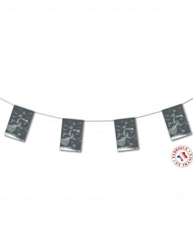Ghirlanda di nozze con gagliardetti di carta color grigio argento lunga 4 m