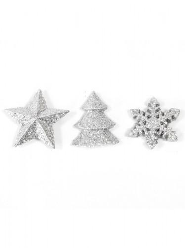 12 Decorazioni di Natale da tavola color argento-1
