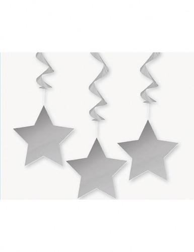 3 decorazioni a forma di stelle argentate da appendere
