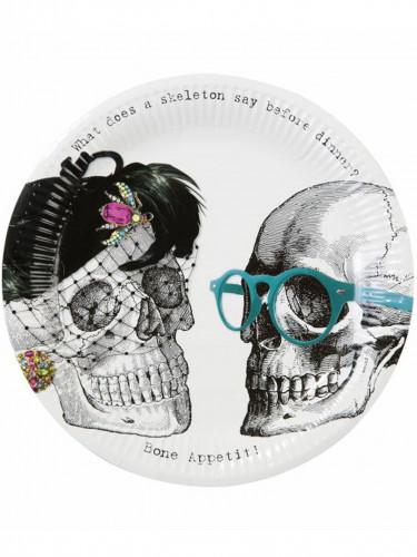 8 piatti in cartone con scheletri di Halloween