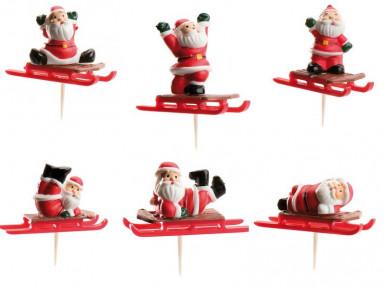 Set di 6 decorazioni slitta di Babbo Natale per torte