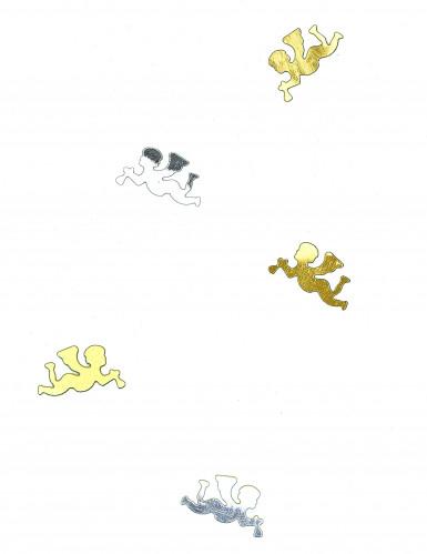 Coriandoli da tavola oro e argento a forma di angioletti