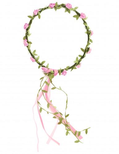 Coroncina con fiori rosa bambina-1
