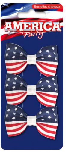 Confezione con 3 fermagli USA per capelli