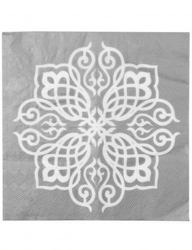 20 Tovaglioli di carta Matrimonio Orientale argento 33 x 33 cm