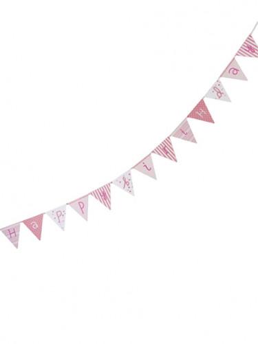 Ghirlanda rosa Happy Birthday per festa