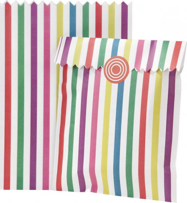 10 Sacchetti in carta a righe multicolore