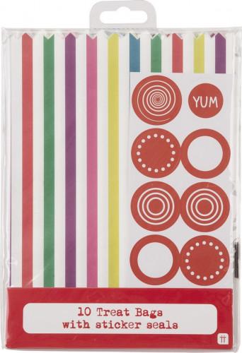 10 Sacchetti in carta a righe multicolore-1