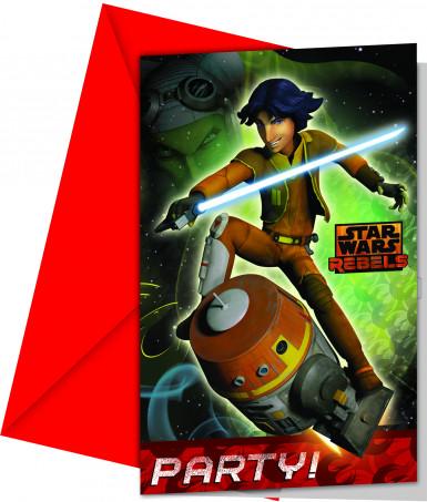 Lotto 6 Cartoncini d'invito Star Wars Rebels™