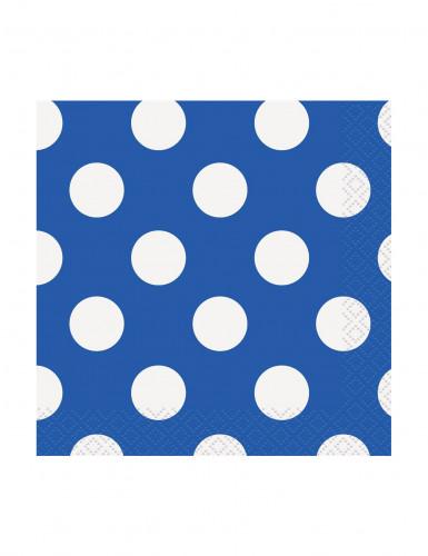 16 Tovagliolini di carta blu a pois bianchi cm 25 X 25