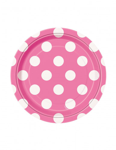 8 piatti piccoli rosa a pois bianchi in cartone di 17 cm