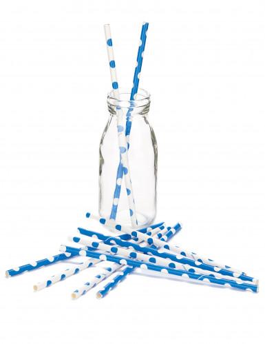 10 cannucce con motivo à pois bianco e blu-1