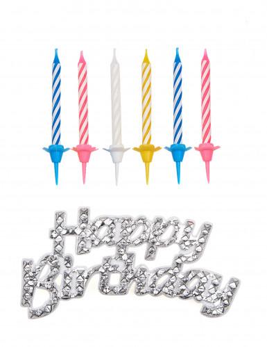 Decorazione per torte Happy Birthday + candele