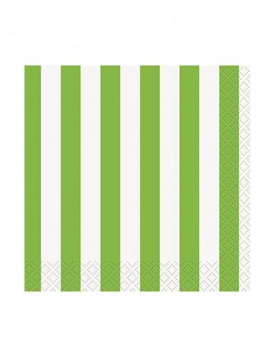 16 Piccoli tovaglioli di carta a strisce verdi e bianche 25x25 cm