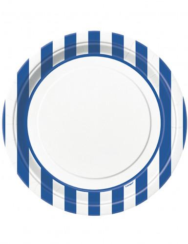 8 Piatti di cartone bianchi a righe blu di 22 cm