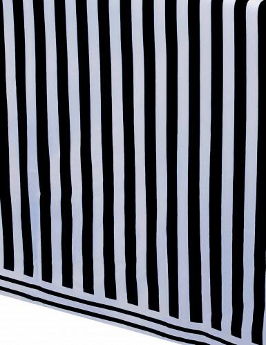 Tovaglia di plastica con motivo a righe nere e bianche 137 x 274 cm-1