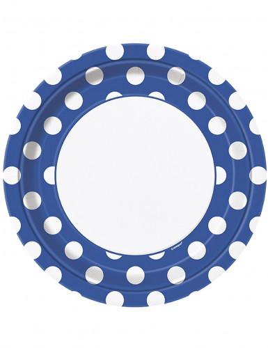 8 piatti di cartone blu a pois bianchi 22 cm