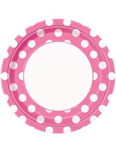 8 piatti di carta rosa a pois bianchi 22 cm