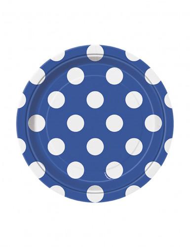 8 piattini di carta blu a pois bianchi 17 cm
