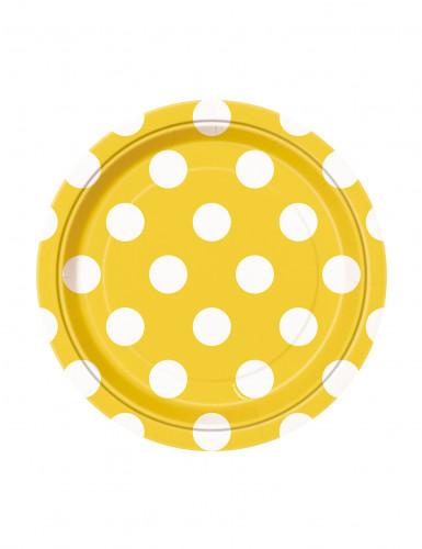 Confezione 8 piattini di carta gialli a pois bianchi