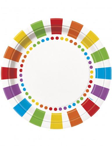 Confezione da 8 piatti di carta a righe colorate