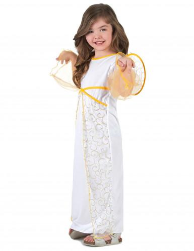 Costume angelo bianco e dorato per bambina-1
