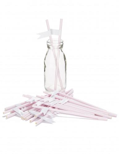 24 cannucce rosa con motivo bianco personalizzabili-1