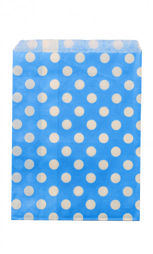 24 Sacchetti di carta turchesi a pois bianchi