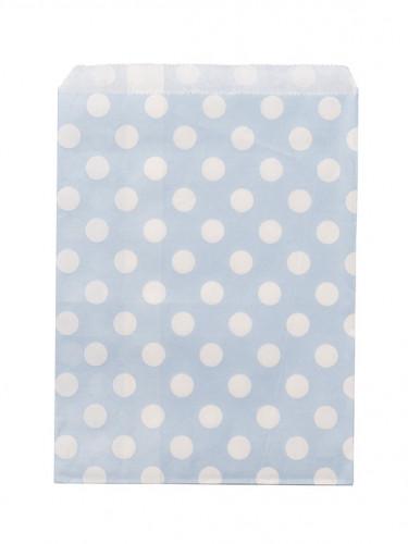 24 sacchetti di carta color blu cielo a pois bianchi
