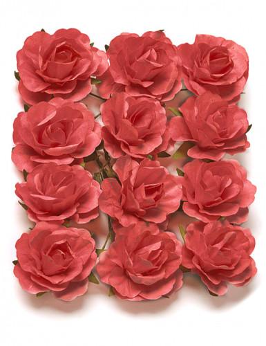 12 Rose da infilare corallo