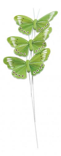 3 farfalle colore verde anice su stelo