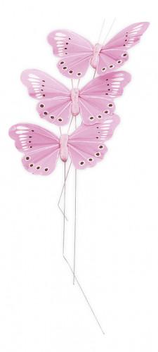 Set 3 farfalle rosa su asta