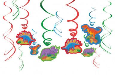 12 Decorazioni a spirale da appendere Dino Party