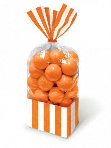 10 Sacchetti per caramelle a righe arancioni