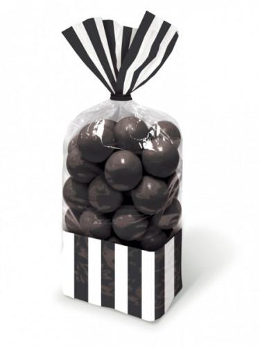 10 Sacchetti per caramelle a righe bianche e nere