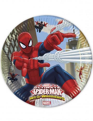 Set di 8 piattini tondi di carta Spiderman