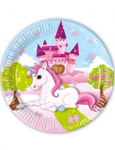 8 Piatti di carta Unicorno 23cm