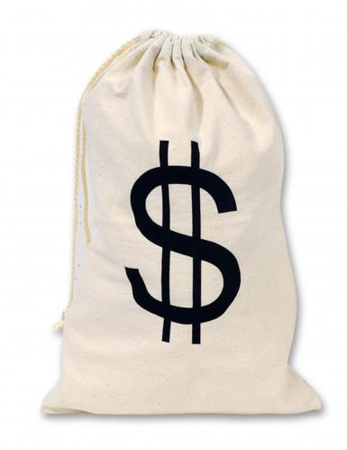 Sacco in tessuto con simbolo del dollaro