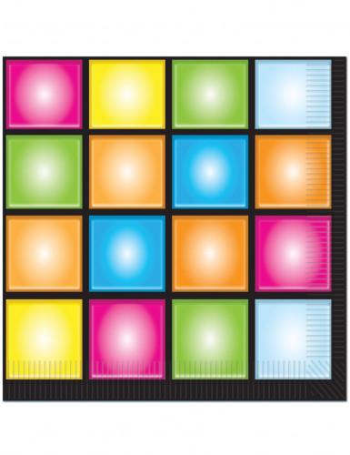 16 tovaglioli di carta misura 33 cm x 33 cm in tema disco