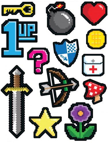 13 Decorazioni adesivi 8-bit anni 80
