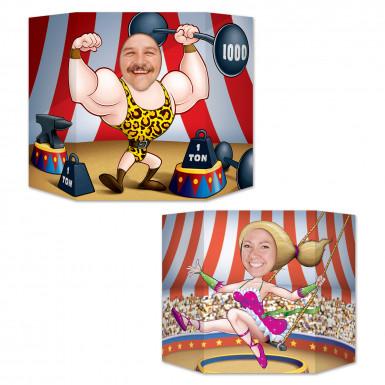 Pannello con foro passa testa a tema coppia del circo