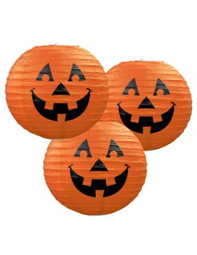 Confezione 3 lanterne giapponesi zucca di Halloween