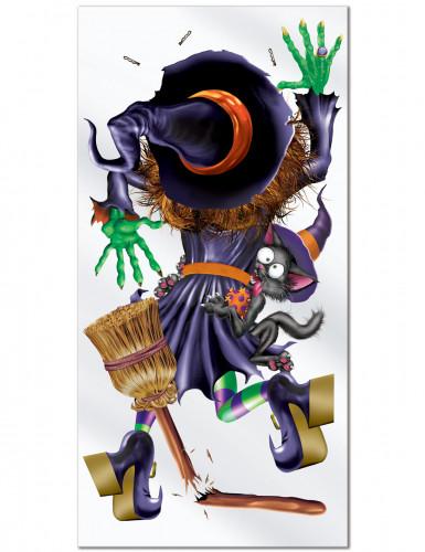 Decorazione Halloween Strega schiacciata sulla porta
