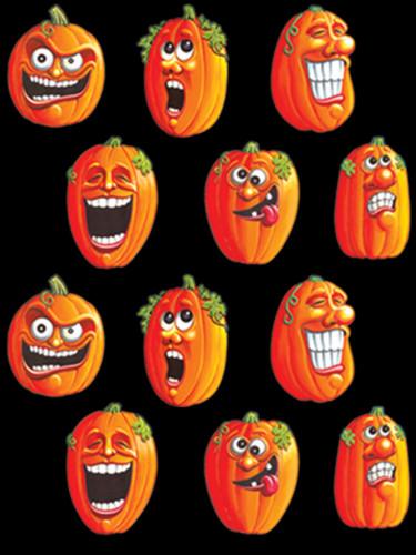 4 fogli di autoadesivi zucche di Halloween